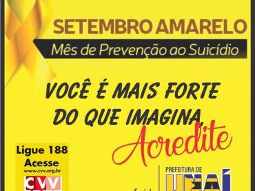 Setembro Amarelo: Unidades de saúde vão falar sobre prevenção ao suicídio